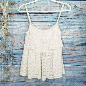 Hazel 2 Tier Cream Lace Cami Size S
